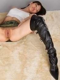 Nerdy Ayaka Mikami showing off her pussy and her tall military-style boots