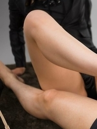 Beauty in black Reo Saionji using her beautiful feet to get this dude off
