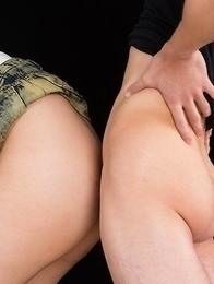Mei Ashikawa oils up her ass before giving a sensational assjob on camera