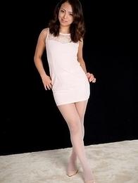 Dress-wearing beauty Misato Kagawa masturbates on all fours in an HQ gallery