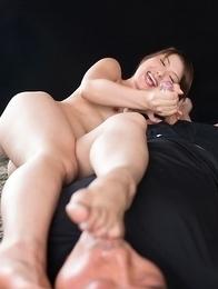 Mature guy sucks on Katou Tsubaki's toes while she gives him a great handjob