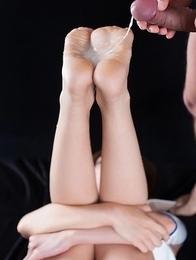 Rin Miura masturbates for a bit before getting her soles covered in fresh cum