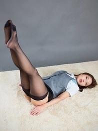 Uniformed beauty Uika Hoshikawa shows her feet in pantyhose while masturbating