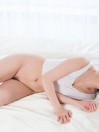 Busty beauty Aya Kisaki using her feet to make this dude cum all over his own belly