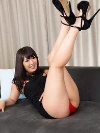 Black dress babe Mayuka Momota using her perfect feet to make a guy cum hard
