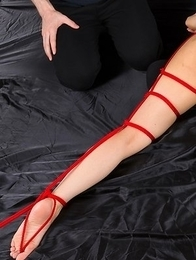 Bondage beauty Mio Yoshida gives a great handjob before getting tied up