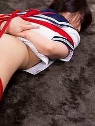 Supreme schoolgirl Mizuho Shiina slides her panties to the side to show it off
