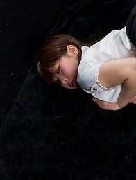 Ruru Sakurai gets fingered and poses a bunch while tied with red rope on the floor