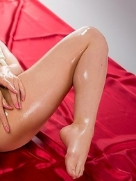 Ruru Sakurai posing in white, getting thigh-fucked, masturbates while oily
