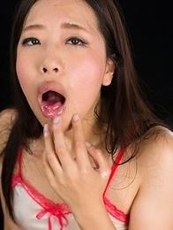 Miyuki Fukatsu Sucks with Her Cum Filled Mouth Pussy