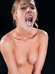 Alexis Crystal Covers A Bunch of Guys Dicks with Cum from Her Mouth