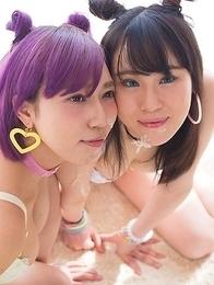 Reina Fujikawa and Yuzu Kitagawa Double Dick Fun