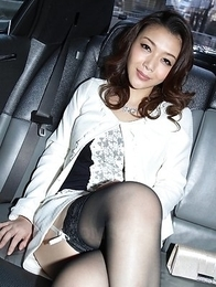 Minako Uchida shows sexy legs in stockings