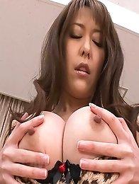 Akari Asagiri Asian with big titties fucks herself with dildo