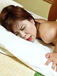 Yukari Asian licks cock and balls and gets cum after doggy fuck