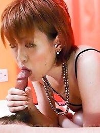 Kaoru Amamiya Asian licks, strokes and takes tool between boobs
