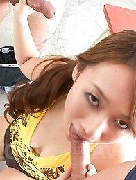 Kazumi Nanase Asian licks, masturbates and sucks joystick so well
