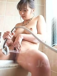 Haruka Oosawa Asian has pussy under shower till comes in bathtub