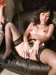 Manami Komukai Asian rubs pussy in panty and puts vibrator on it