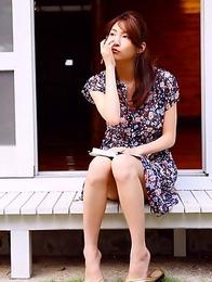 Asana Mamoru with big boobs in red bra loves the sunlight