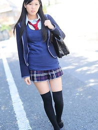 Saemi Shinohara is sexy schoolgirl in uniform and socks