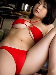 Rui Kiriyama shows very hot bum and very big tits in red