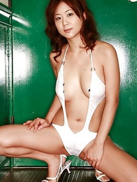 Maki Hoshino with big cans looks so fine in green lingerie