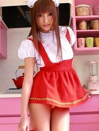Kirara Asuka shows pussy and ass in panty under uniform