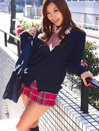 Miyu Hoshino plays with sexy school uniform after classes