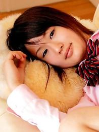 Naoko Sawano in sexy school uniform is playful after class