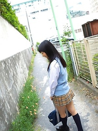 Kotone Moriyama in uniform bends and shows ass on street