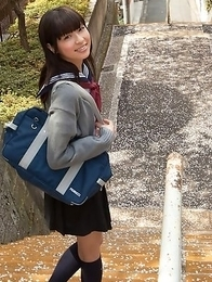 Young japanese Yuuri Shiina in school uniform is so cute while walking