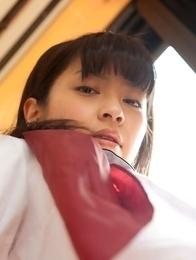 Yuuri Shiina shows nasty behind in panty under uniform